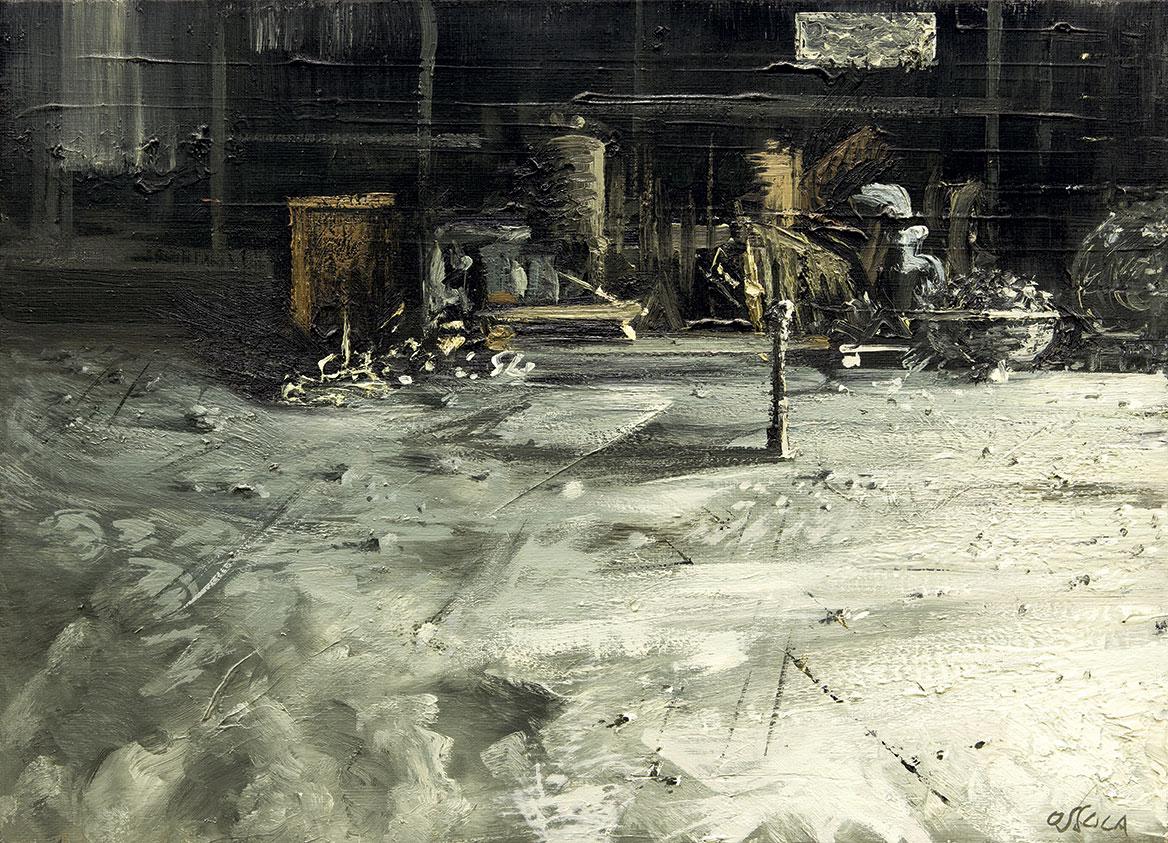 Gli strumenti della fabbrica in penombra